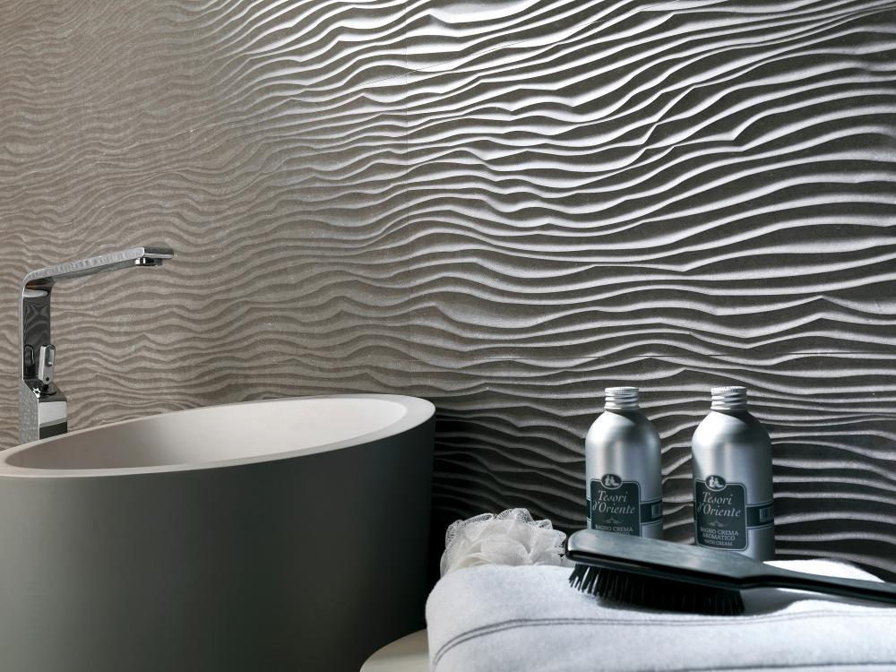 Волнистая плитка для ванной, чем дополнить